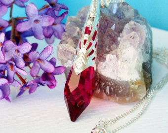 Swarovski Crystal Necklace Red Single Point Crystal Pendant 18 or 24 inch Chain