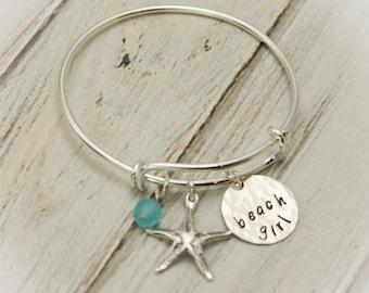 Beach Girl Bangle, Starfish Bracelet, Beach Jewelry, Vacation Jewelry, Cruise Wear, Personalized Hand Stamped Jewelry