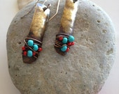 Turquoise Blue and Red Beaded Brass Earrings-Hanging Brass Earrings with turquoise and red- Metal Wrapped Earrings
