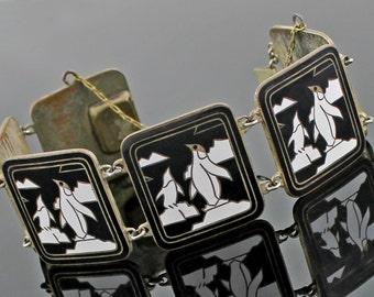SALE - Vintage Enamel Penguin Bracelet - Art Deco - Was 150.00