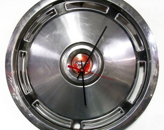 1974 Mustang Hubcap Clock - Ford Wall Decor - Retro Pony Car Hub Cap - Father's Day Gift
