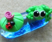Wee Froggy and Lilypad on a glass puddle OOAK Polymer Clay