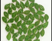 50 Ceramic Leaf Tiles- Mosaic Leaves - High Fired
