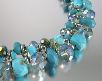 Turquoise Magnesite Crystal Beaded Necklace Silver Blue Vintage - W3300