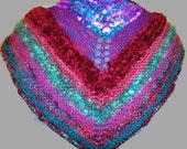 Shawl Triangle Scarf Multi color Wrap Women's Clothing Shoulder Cover Neck Warmer Knitted Lightweight Shawl Evening Wrap by Cherylsknits