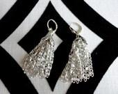 Silver Chain Dangle Pierced Earrings