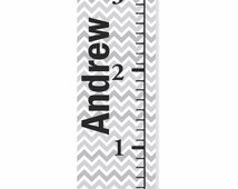 Grey Chevron Personalized Canvas Growth Chart