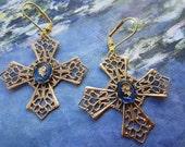 Brass Cross and Vintage Warrior Earrings On Brass Lever Backs