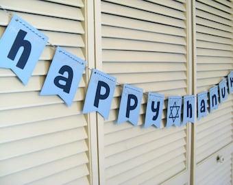 Happy Hanukkah Banner, Hanukkah Garland, Hanukkah Decoration,  Hanukkah Decor, Jewish Holiday Decor, Chanukkah, Banner, Happy Hanukkah