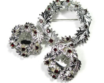 Vintage Jewelry, Vintage Dodds Brooch and Earrings Jewelry Set, Sparkling Red Swarovski Classic Jewelry, Gift Ideas, Antique Jewelry