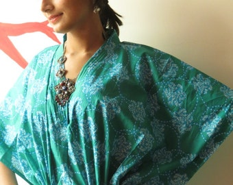 Teal Circle flowers Kaftan - Pajamas to live in, beachwear Caftan, spa robe..make great Anniversary or Birthday gifts, new mom Gift