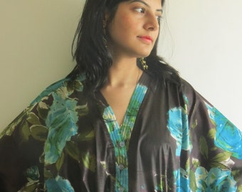 Brown Teal Nursing Maternity Hosptial Gown Delivery Kaftan Perfect as loungewear as getting ready as beachwear, gift for moms and to be moms