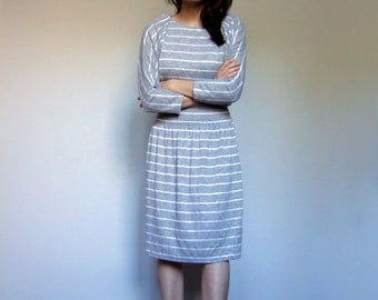 Casual Striped Dress Grey White Vintage 70s Three Quarter Sleeve Simple Fall Dress - Extra Small XS S