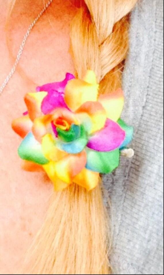 Fun tie dyed Flower Hair Clip
