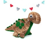 Eco Plush Brontosaurus Faux Brown Reptile Scales with Hunter Green Accents - Handmade with Upcycled, Recycled, & Eco Friendly Materials