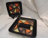Ardco Ceramic Ashtrays Black Orange Yellow Brown 1970s Retro