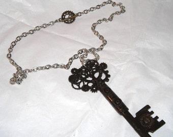 Gothic Skeleton Key  Pendant Necklace