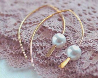White Pearl Curve . 14K Gold Filled . Open Hoop Earrings
