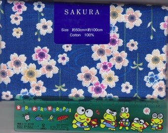 Blue Cherry Blossom Material - 100% Cotton - 50cm x 100cm (19.7 x 39.4 inches) - Reference L3