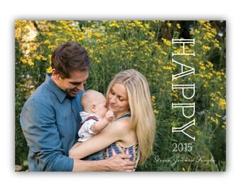 Custom Holiday Photo Card - New Years Phot Card - Happy