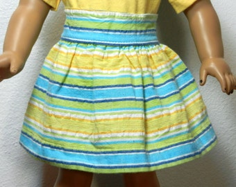 BK Aqua, Green, Yellow, and White Striped Seersucker Skirt  - 18 Inch Doll Clothes fits American Girl