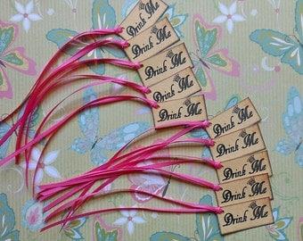 "Set of 10 Alice in Wonderland ""Drink Me"" Cards with ANY color RIBBON- Drink me cards with ribbon, Alice in Wonderland cards eat me drink me"