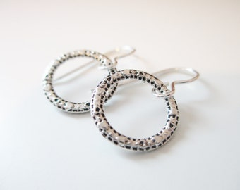 Textured Circle Earrings - Silver Hoop Earrings - Gifts Under 20
