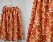 1950's Novelty Print Cotton Skirt • Garden Mums Full Skirt • 1950's Full Skirt