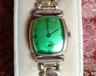 Helbros Wrist Watch with Green Crystal 1940's