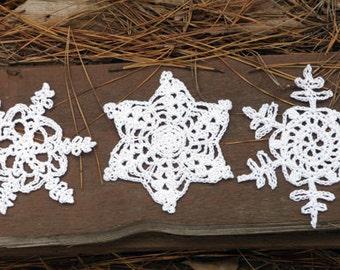 Set of 3 Snowflakes - PDF Crochet Pattern - Instant Download