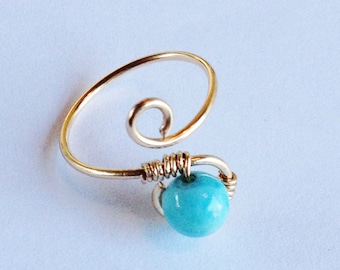 Larimar Ring   Larimar Gemstone   Larimar 14K Gold Filled Ring   Larimar Jewelry   14K Gold Filled Ring