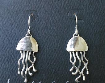 Artisan Peite Jellyfish Earrings in Sterling Silver - Handcrafted by Lynda Keen