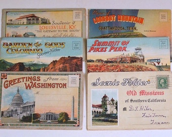 Vintage Postcard Books, Collection of Six Booklets, 1920s