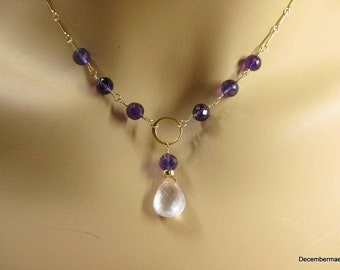 Rose Quartz and Amethyst Necklace in Gold