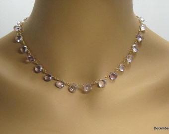 Pink Amethyst Briolette Necklace in Gold