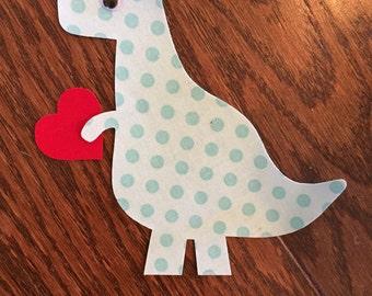 Valentine Dinosaur Iron On Applique, You Choose Fabric