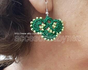Beaded Crochet Earrings, Green Earrings, Dangle Earrings,Shamrock Earrings