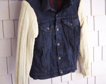 Upcycled 80's Levi's trucker Jacket Sweater Sleeves