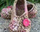 Girls Crochet Pink Slippers | Pink and Brown Crochet Slippers | Hand Crochet Slippers | House Shoes | Crochet Booties | Slippers