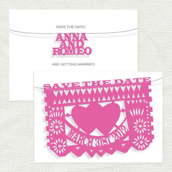 fiesta wedding save the date - printable file - mexican papel picado flags bunting mexico cut paper folksy