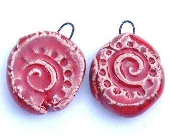 Red Swirl and dots Ceramic Jewelry Earring Finding Components Swirl Design Rustic Swirl Charms by Clay Designs by glee in Oxblood Red