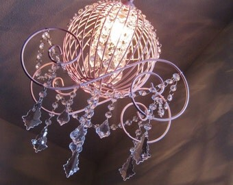 Pink Princess Cinderella Carriage Chandelier Pendant Lamp MADE TO ORDER