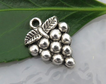 6 GRAPE CLUSTER Charms in Antique Silver Tone, US Seller