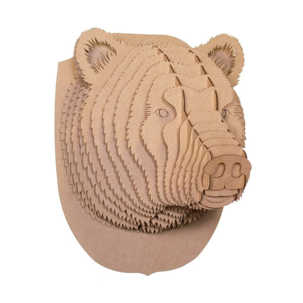 Cardboard Safari Stewart Cardboard Bear Head Medium Brown