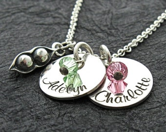 Personalized 2 Peas in the Pod mom necklace - Mothers Necklace - Personalized Necklace - Custom Jewelry - Mothers Jewelry