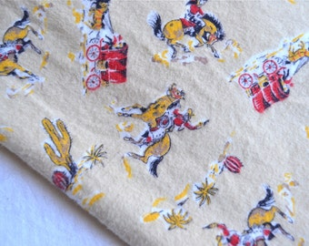Vintage Flannel Fabric - Cowboy Chuck Wagon Bronco Horse Rodeo - By the Yard