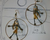 Gothic Hoops, Dancing Rastafarian Earrings, Day of the Dead Jewelry, 3 in. Hoops, Absolutely Darling