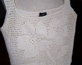 Vintage Ladies Cotton Crocheted Sleeveless Camasole Top Made in Germany