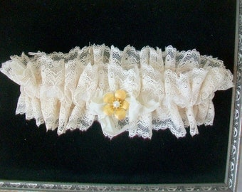 Brides garter  Wedding tradition  Vintage lace remake  Antique brooch embellishment