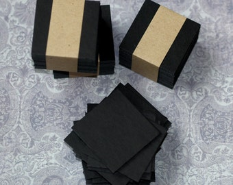 """Black Chipboard Squares ... 50 Pieces 2"""" Square Art Supplies Heavyweight Thick Labels Small Cards Black Cards Square Cards Artist Supply"""